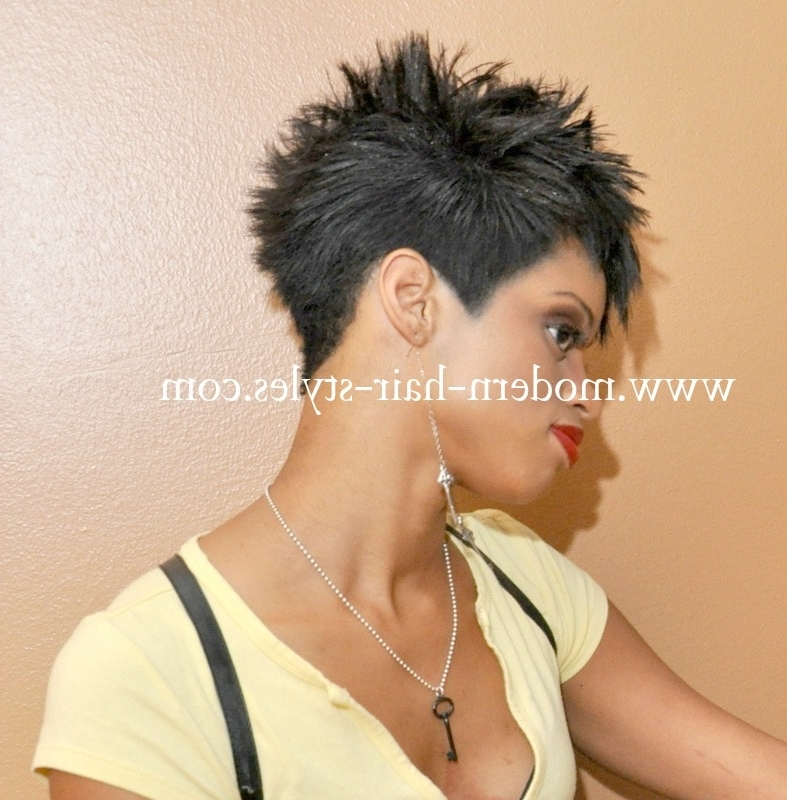 Black Hairstyles For Short Hair, Pictures, And Quick Weaves Intended For Recent Choppy Asymmetrical Black Pixie Hairstyles (View 18 of 25)