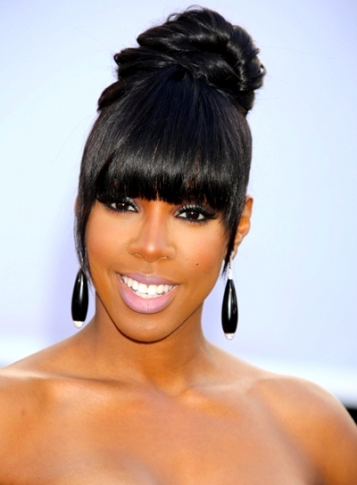 Black Hairstyles With Bangs – Beauty Riot Throughout Minaj Pony Hairstyles With Arched Bangs (View 11 of 25)