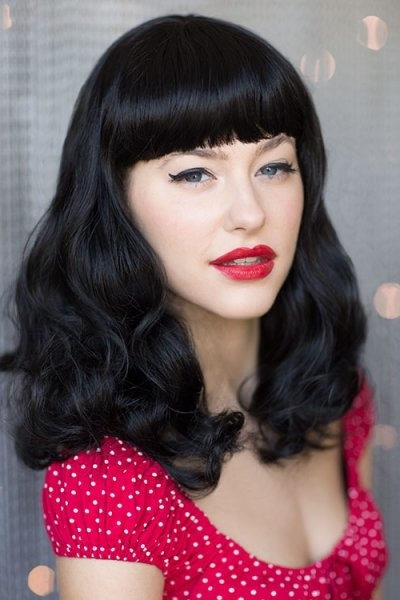 Black Wig, Curled With Short Fringe: Bettie : Mid Length Wigs Regarding Silver Bettie Blonde Hairstyles (View 17 of 25)