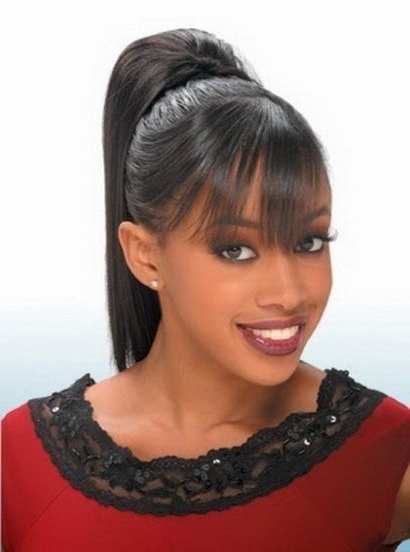 Black Women High Ponytail Hairstyles With Side Bangs | African For Minaj Pony Hairstyles With Arched Bangs (View 6 of 25)