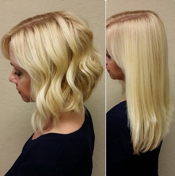 Blonde Angled Bob Haircuts – Popular Haircuts Within Angled Wavy Lob Blonde Hairstyles (View 18 of 25)