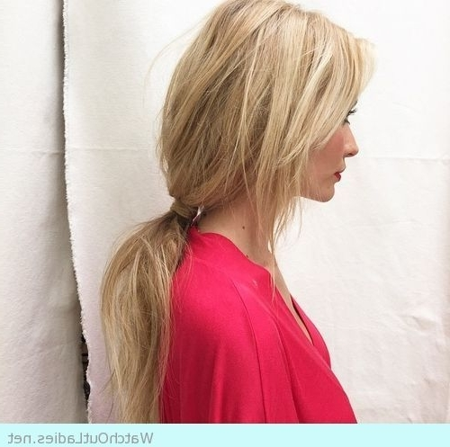 Blonde Girl With Low Loose Ponytail With Side Bangs   Make Up And Regarding Low Loose Pony Hairstyles With Side Bangs (View 4 of 25)
