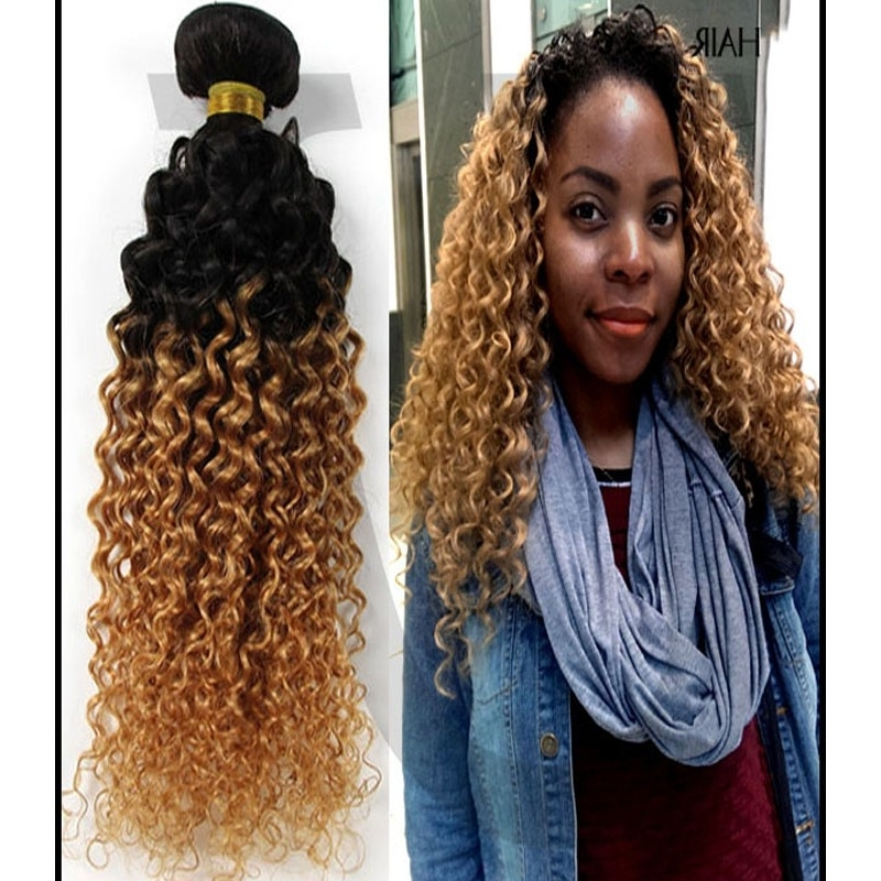 Blonde Ombre Curly Peruvian Human Hair Bundles Within Brown To Blonde Ombre Curls Hairstyles (View 12 of 25)