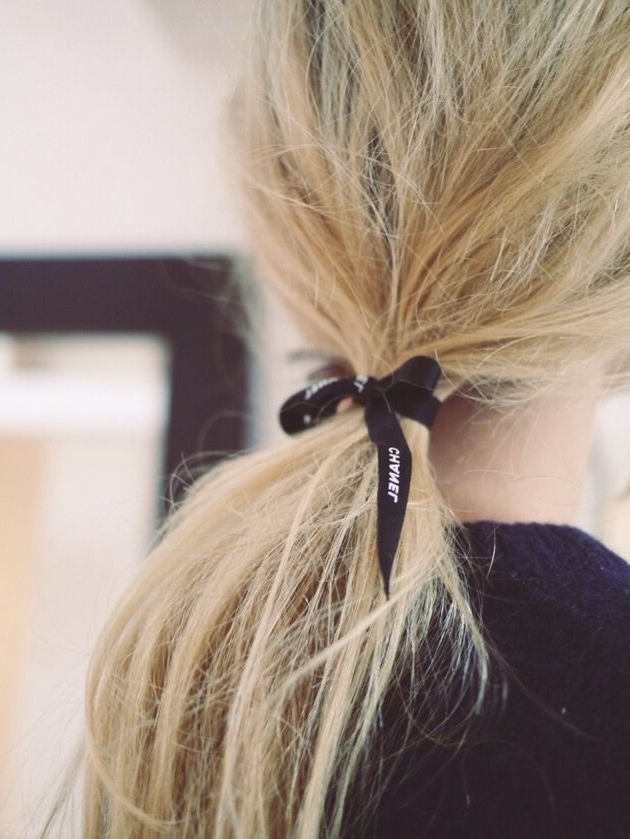 Blonde Ponytail Tied With Black Chanel Ribbon (View 10 of 25)