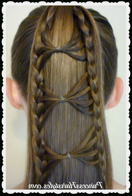 Bow Tie Braid Ponytail Hair Tutorial – Hairstyles For Girls Within Princess Ponytail Hairstyles (View 19 of 25)