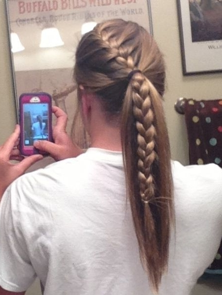 Braided Bangs To Ponytail | Beauty | Pinterest | Ponytail, Bangs And Pertaining To Brunette Ponytail Hairstyles With Braided Bangs (View 2 of 25)