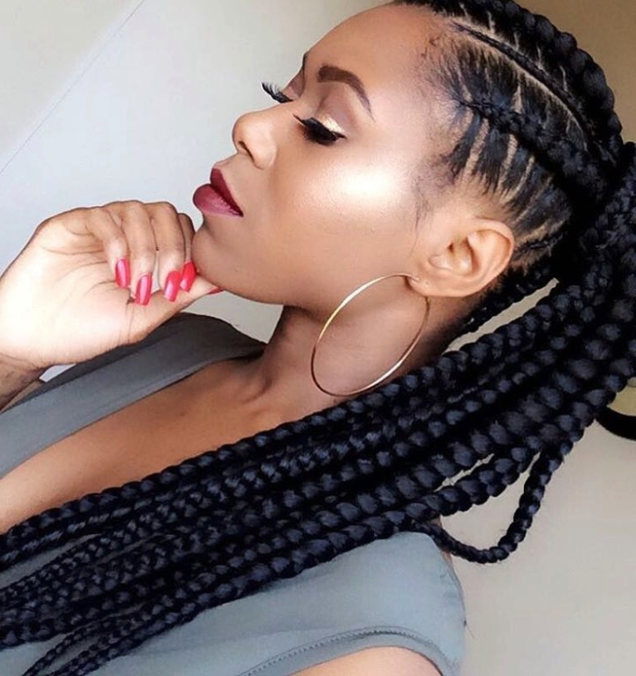 Braided Hairstyle Ideas & Inspiration For Black Women | Hairstyle Guru With High Ponytail Hairstyles With Jumbo Cornrows (View 24 of 25)