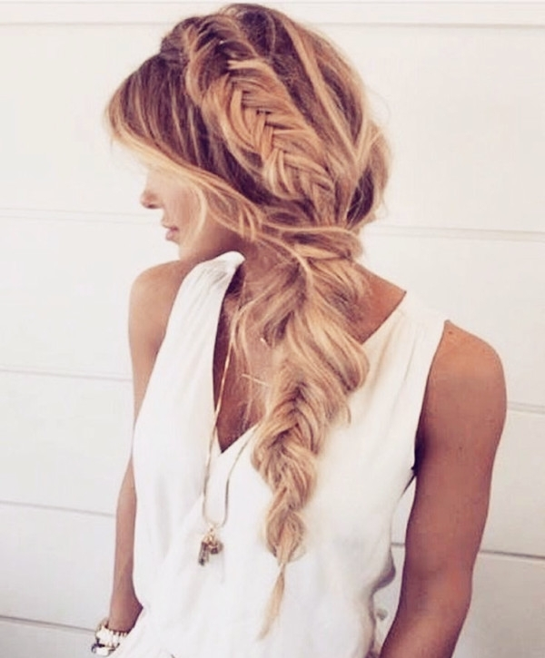 Braided Hairstyles Vpfashion With Regard To Honey Blonde Fishtail Look Ponytail Hairstyles (View 9 of 25)