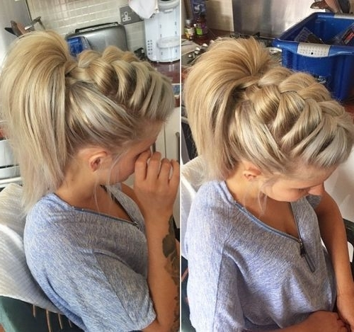 Braided Ponytail Ideas: 40 Cute Ponytails With Braids | Hair Regarding Two Tone High Ponytail Hairstyles With A Fauxhawk (View 15 of 25)