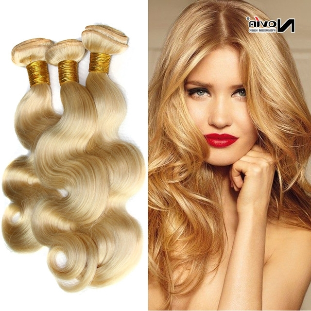 Brazilian Blonde Virgin Hair Body Wave 613 Platinum Blonde Hair Weft With Regard To Golden And Platinum Blonde Hairstyles (View 17 of 25)