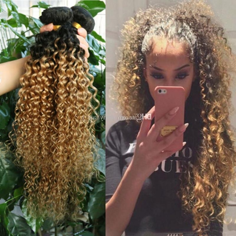 Brazilian Kinky Curly Ombre Hair Extensions Two Tone 1B/27 Honey Within Brown To Blonde Ombre Curls Hairstyles (View 13 of 25)