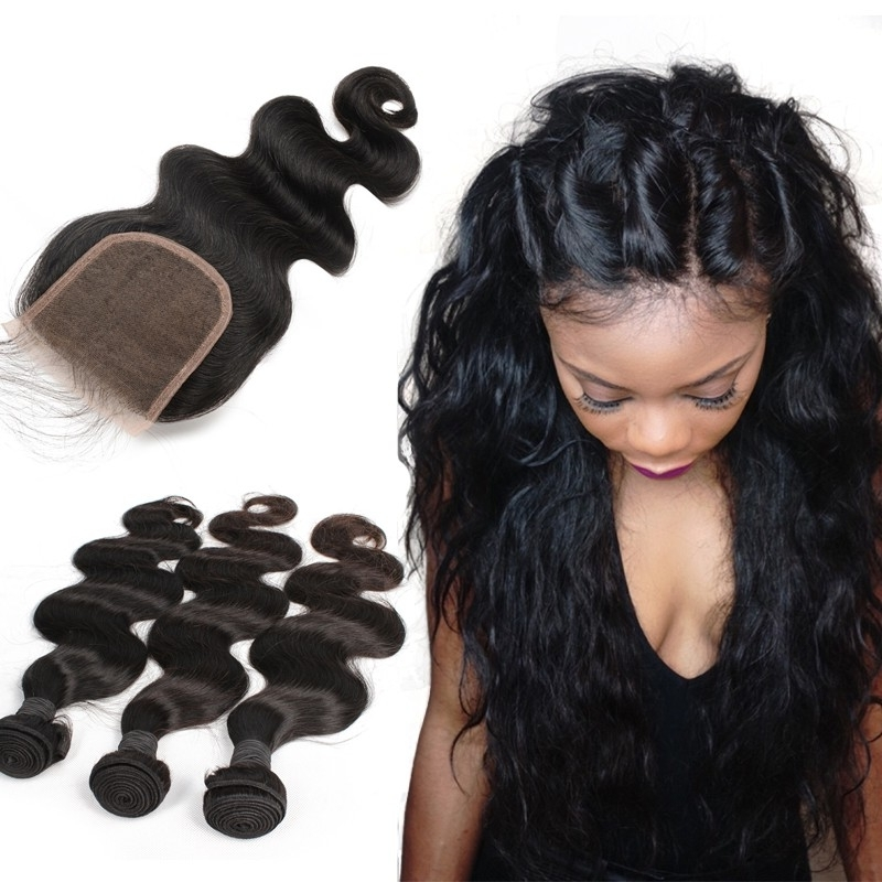 Brazilian Virgin Human Hair Extensions Weave 3 Bundles With 1 Inside Natural Color Waves Hairstyles (View 25 of 25)