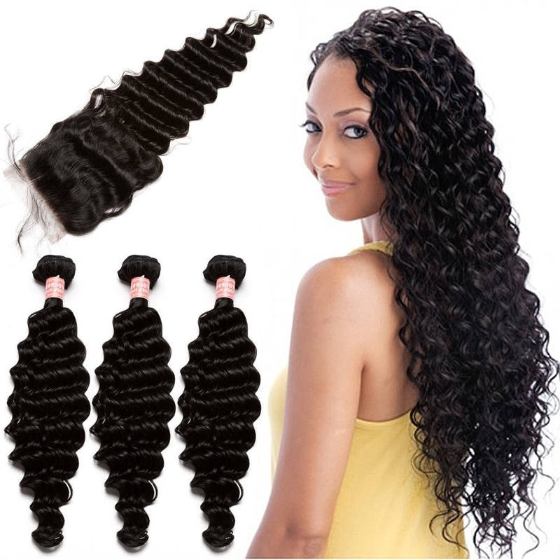 Brazilian Virgin Human Hair With Closure Deep Wave 3 Bundles With 1 With Regard To Natural Color Waves Hairstyles (View 20 of 25)