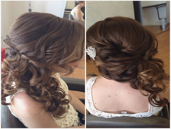 Bridal Hair, Wedding Hair, Side Swept Updo, Side Ponytail, Curly For Side Swept Curly Ponytail Hairstyles (View 4 of 25)