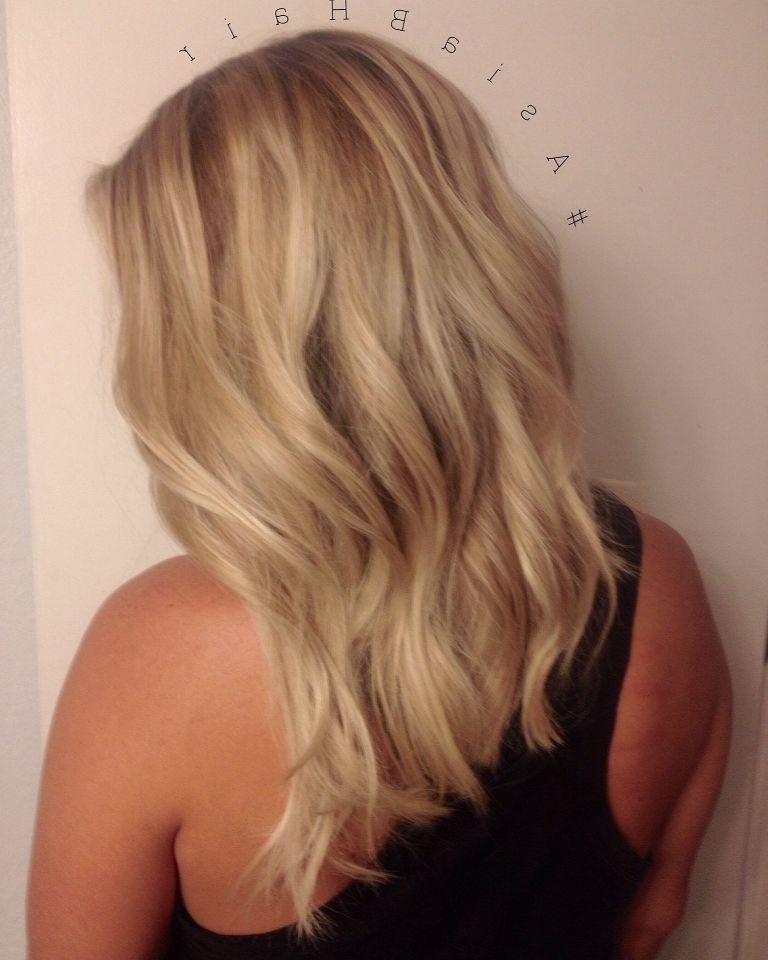 Bright Blonde Balayage + Long Bob Cut #balayage #blonde #bob | Hair Throughout Bright Long Bob Blonde Hairstyles (View 16 of 25)