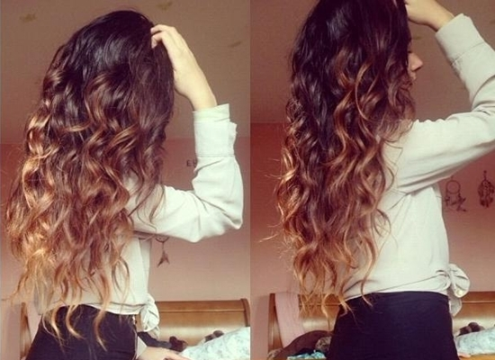 Brown Blonde Curly Hairstyle Clip Wavy Ombre Extension | Medium Hair Inside Brown To Blonde Ombre Curls Hairstyles (View 8 of 25)