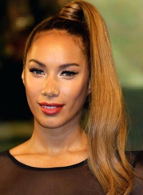 Brown Hair On Black Girl Sophisticated High Ponytail Dark Brown Hair Inside High And Glossy Brown Blonde Pony Hairstyles (View 7 of 25)
