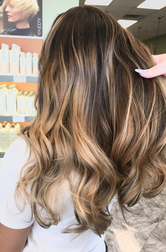 Brown With Caramel Blonde Balayage Straight Hairstyles 2017 Layered | Intended For Caramel Blonde Hairstyles (View 16 of 25)