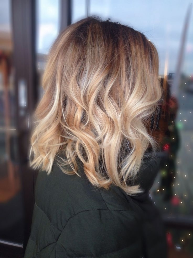 Brunette Balayage & Hair Highlights : Honey Blonde Balayage With Pertaining To Messy Blonde Lob Hairstyles (View 20 of 25)