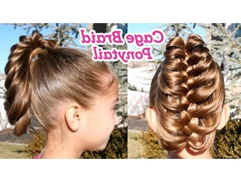 Cage Braid Ponytail | Popular Braids | Cute Girls Hairstyles – Youtube Intended For Bow Braid Ponytail Hairstyles (View 12 of 25)