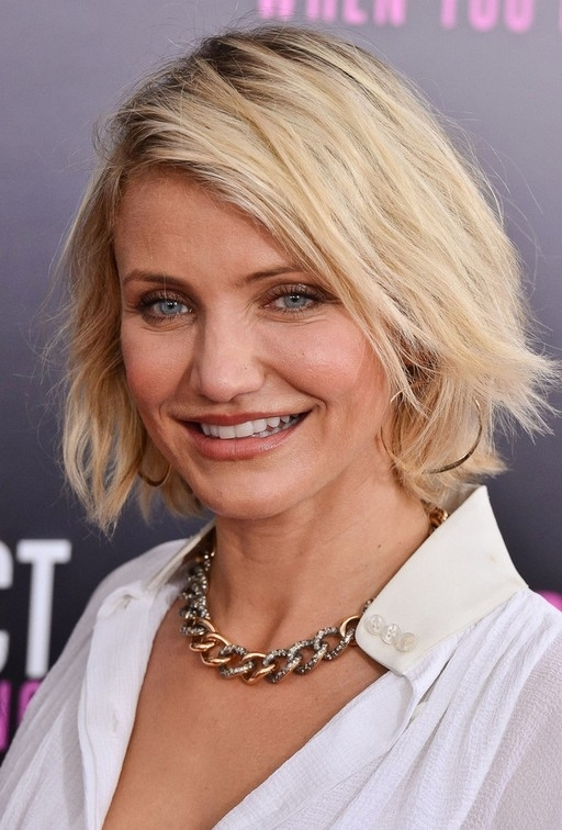 Cameron Diaz Casual Textured Platinum Blonde Bob Hairstyle | Styles With Textured Platinum Blonde Bob Hairstyles (View 2 of 25)