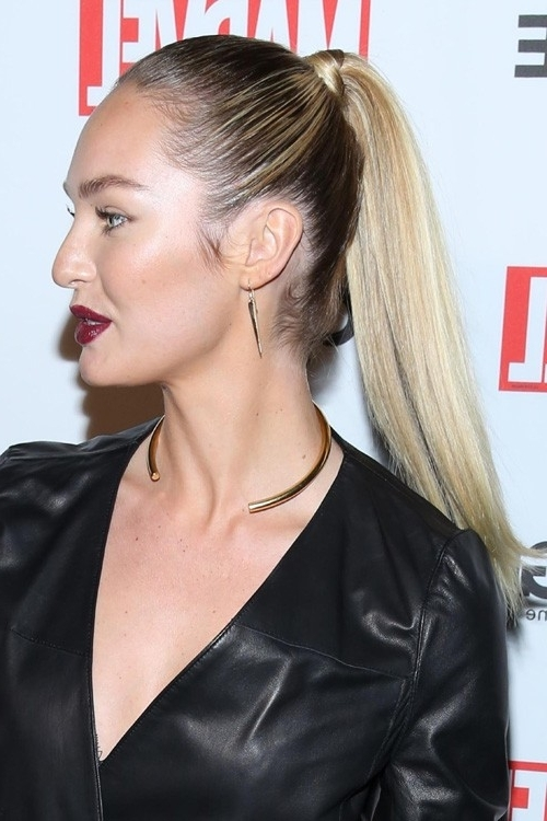 Candice Swanepoel Straight Medium Brown High Ponytail, Ombré Intended For High And Glossy Brown Blonde Pony Hairstyles (View 25 of 25)