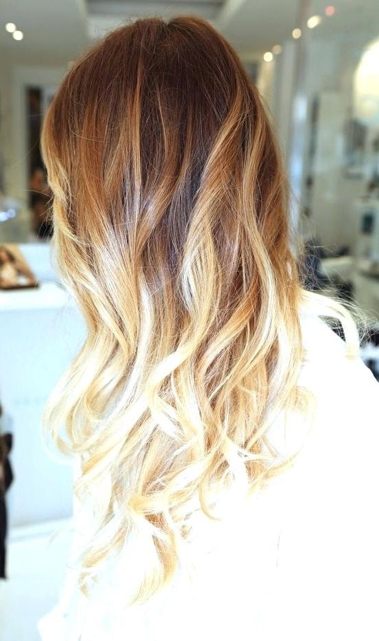 Caramel Ombre Hair Color Golden Brown Hair With Caramel Highlight In Blonde Ombre Waves Hairstyles (View 10 of 25)