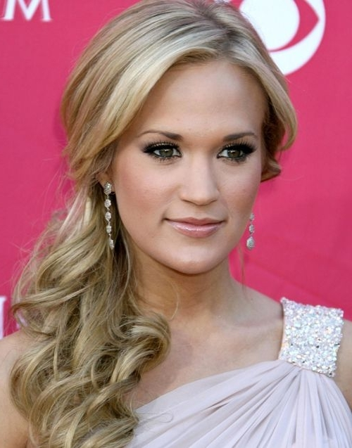 Carrie Underwood Formal Side Ponytail – Prom, Formal, Awards Regarding Sassy Side Ponytail Hairstyles (View 13 of 25)
