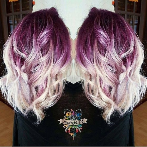 Casual, Curly Medium Hairstyles – Plum Purple Hair Color Base With Regarding White Blonde Hairstyles For Brown Base (View 14 of 25)