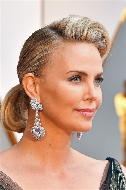 Charlize Theron's Retro Ponytail Look At The Oscars – Hairstyling Throughout Retro Glam Ponytail Hairstyles (View 12 of 25)