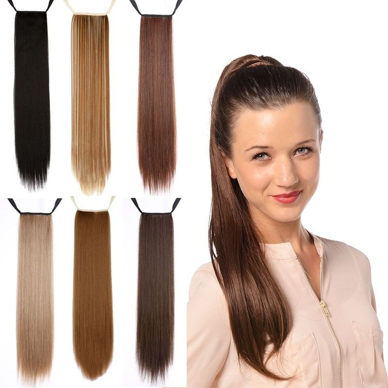 """Cheap 24""""long Straight Synthetic Ponytail Tress Apply Hair Clips In For Long Blond Ponytail Hairstyles With Bump And Sparkling Clip (View 18 of 25)"""