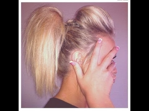 Cheerleading Hair Tutorial: The Ponytail Poof – Youtube Intended For Poofy Ponytail Hairstyles With Bump (View 9 of 25)