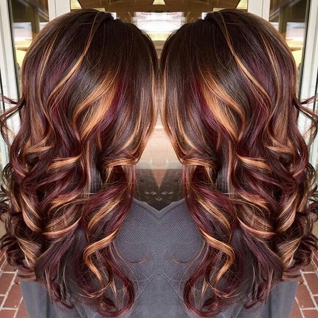 Chestnut Brown Hair With Burgundy Lowlights & Caramel Highlights In Dark Locks Blonde Hairstyles With Caramel Highlights (View 6 of 25)