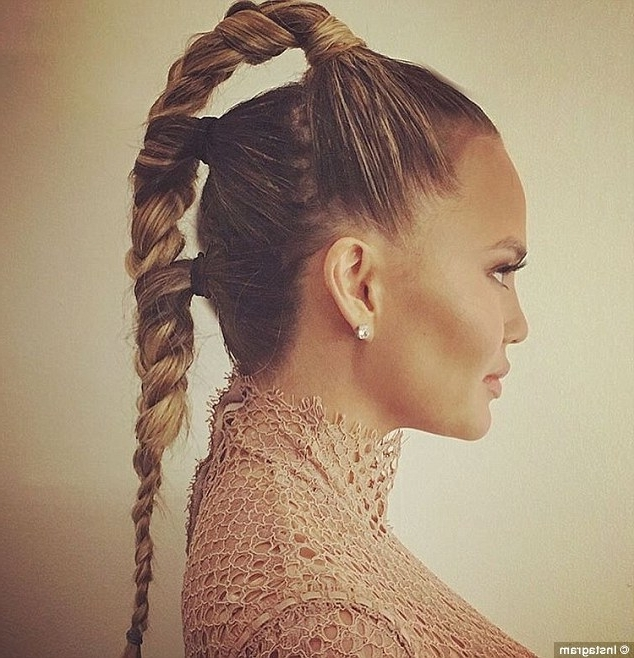 Chrissy Teigen Shows Off Some Fresh And Fun Ways To Shake Up You Throughout Futuristic And Flirty Ponytail Hairstyles (View 13 of 25)