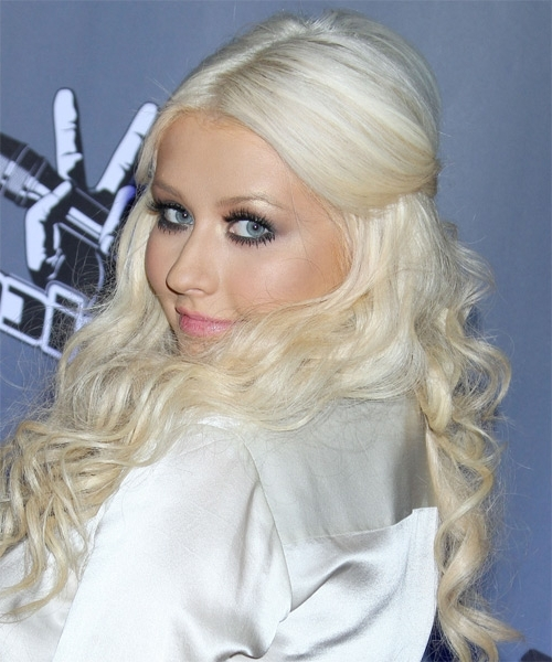Christina Aguilera Long Curly Casual Half Up Hairstyle – Light Intended For White Blonde Curls Hairstyles (View 14 of 25)
