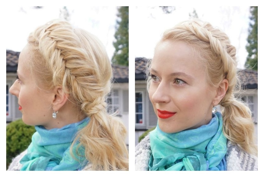 Chunky Fishtail Braided Ponytail For Medium Layered Hair – Tutorial Pertaining To Honey Blonde Fishtail Look Ponytail Hairstyles (View 14 of 25)