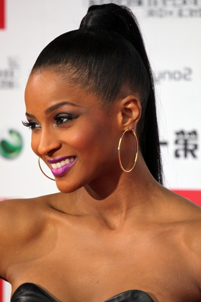 Ciara High Sleek Ponytail Hairstyle Picture – Sheclick Throughout High Sleek Ponytail Hairstyles (View 24 of 25)