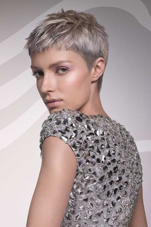 Color Short Gray Hair | Short Hairstyles Inside Most Recent Gray Blonde Pixie Hairstyles (View 19 of 25)