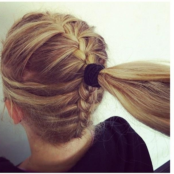 Cool Hairstyle Plaits Braid Ponytail In Middle Hairstyles How To Inside Trendy Ponytail Hairstyles With French Plait (View 22 of 25)