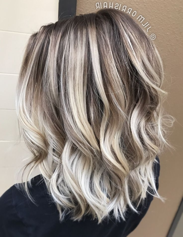 Cool Icy Ashy Blonde Balayage Highlights, Shadow Root, Waves And With Pearl Blonde Bouncy Waves Hairstyles (View 3 of 25)