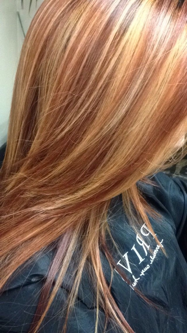 Copper Red Hair Color With Golden Blonde Highlights Pertaining To Light Copper Hairstyles With Blonde Babylights (View 21 of 25)