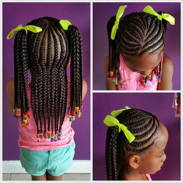 Cornrows In Ponytails| Little Girl Protective Hairstyle | Hair Ideas With Regard To Braided Millennial Pink Pony Hairstyles (View 15 of 25)