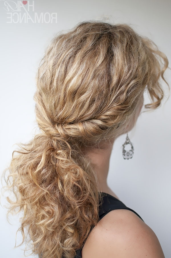 Curly Hairstyle Tutorial – The Twist Over Ponytail – Hair Romance Intended For Loose And Looped Ponytail Hairstyles (View 8 of 25)