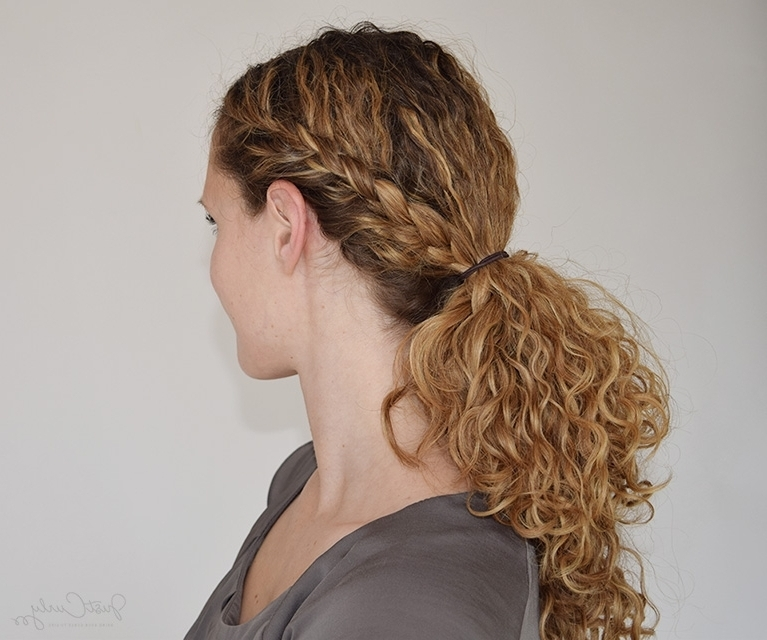 Curly Hairstyle With Braids The Half French Braid Ending In A Intended For Braids With Curls Hairstyles (View 12 of 25)