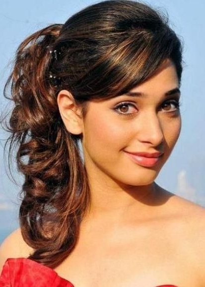 Curly High Ponytail Hairstyle With Side Swept Long Bangs | Formal Intended For High Ponytail Hairstyles With Side Bangs (View 3 of 25)