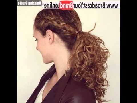 Curly Ponytail With A Side Braid – Youtube Pertaining To Side Braid Hairstyles For Curly Ponytail (View 15 of 25)