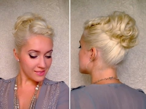 Curly Updo Hairstyle For Short Hair Twisted Bangs Ponytail Cute Intended For Casual Retro Ponytail Hairstyles (View 25 of 25)