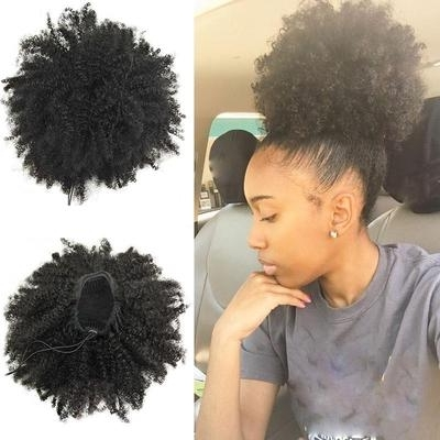 Cute Big Crinkling Puff Natural Chamber Frizzed Ponytail Synthetic Inside Curly Blonde Afro Puff Ponytail Hairstyles (View 15 of 25)