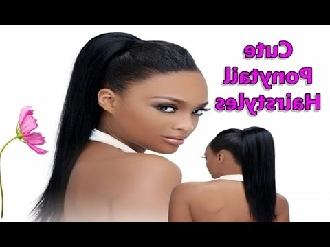 Cute Black Ponytail Hairstyles For African American Natural, Medium Inside Afro Style Ponytail Hairstyles (View 19 of 25)