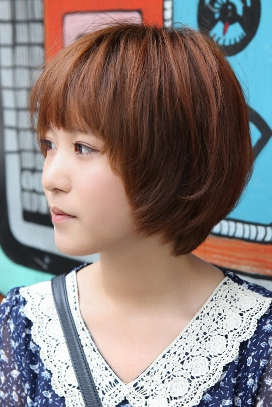 Cute Korean Short Haircut: Layered Bob With Feathered Ends & Fringe With Most Popular Brunette Pixie Hairstyles With Feathered Layers (View 11 of 25)